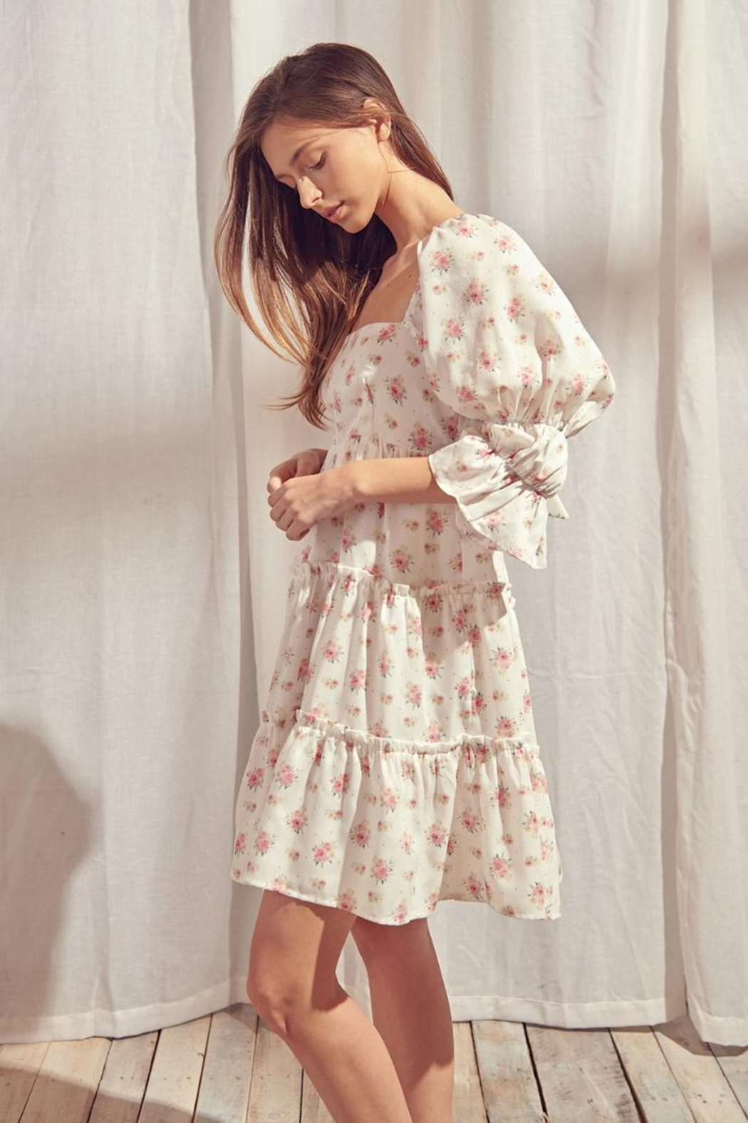 storia Back-Tie Floral Dress - Front Full Image