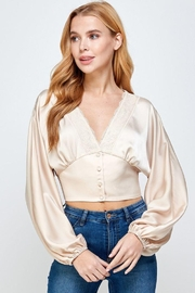 storia Balloon Sleeve Button-Up Top - Front cropped