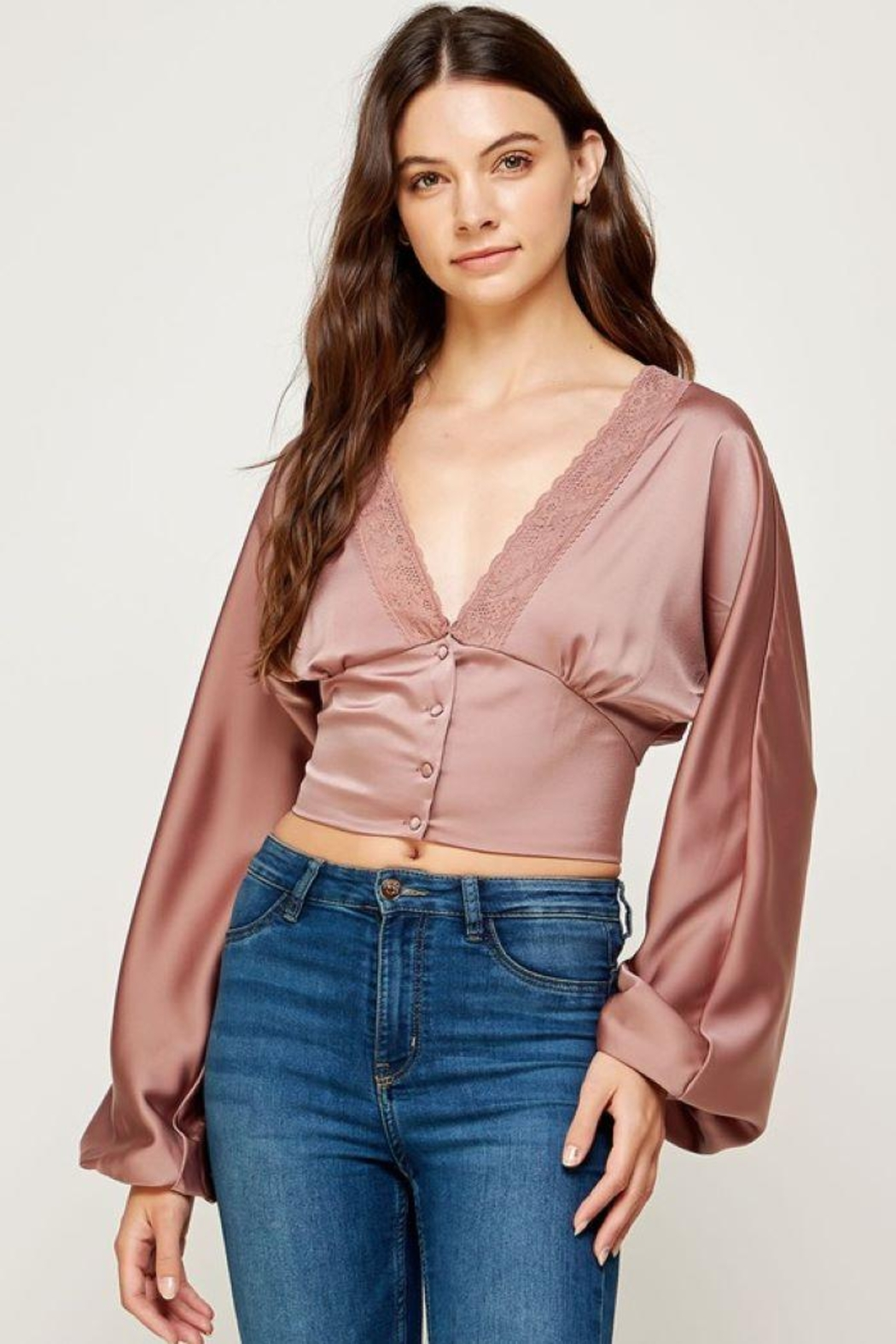 storia Balloon Sleeve Button-Up Top - Front Cropped Image