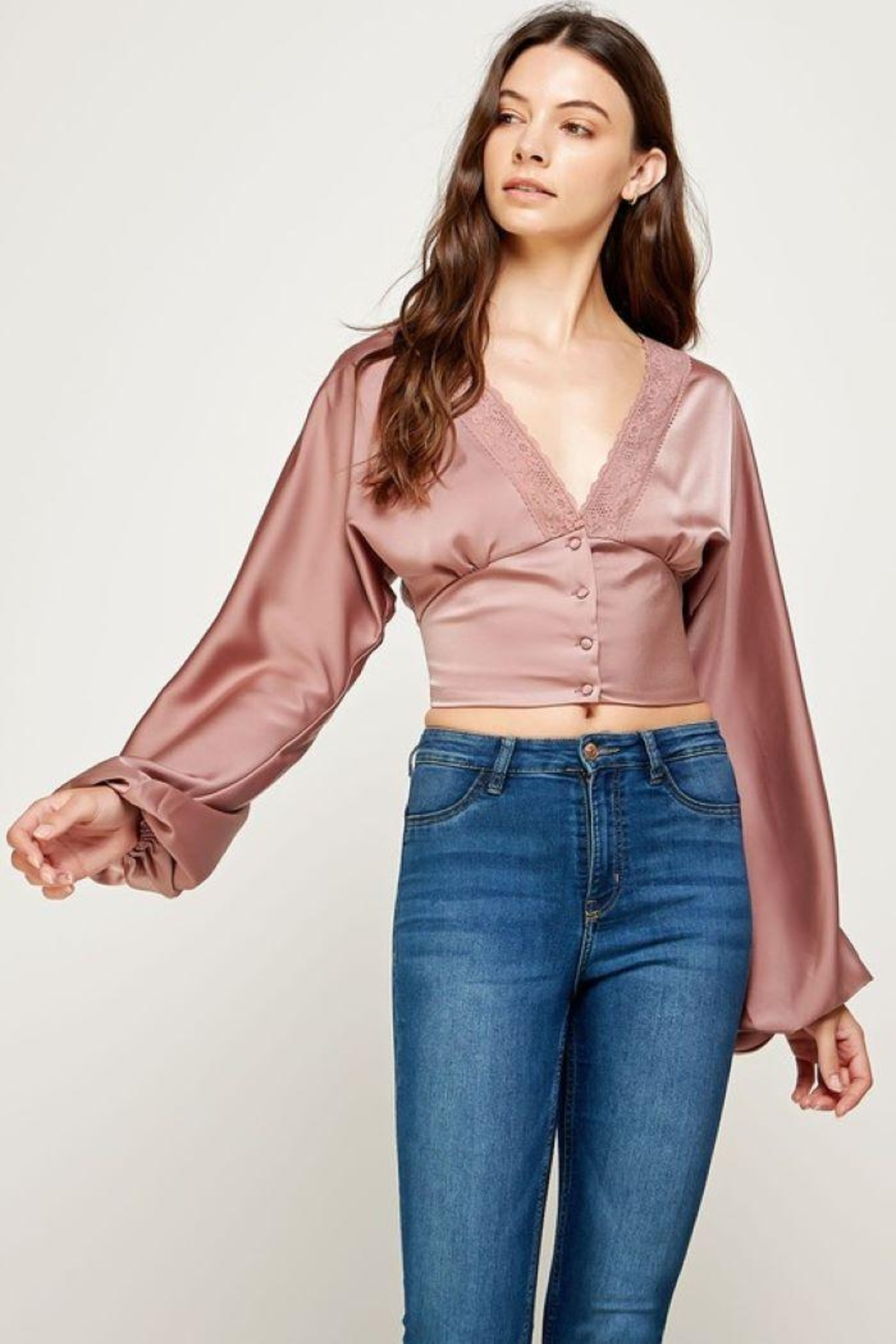 storia Balloon Sleeve Button-Up Top - Side Cropped Image