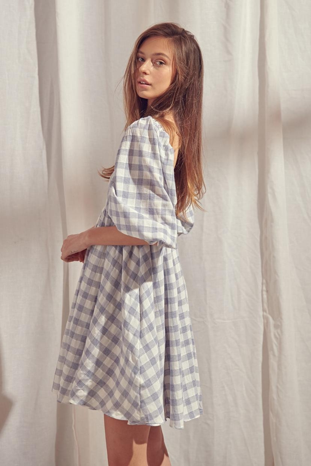 storia Checkered Dress - Front Full Image