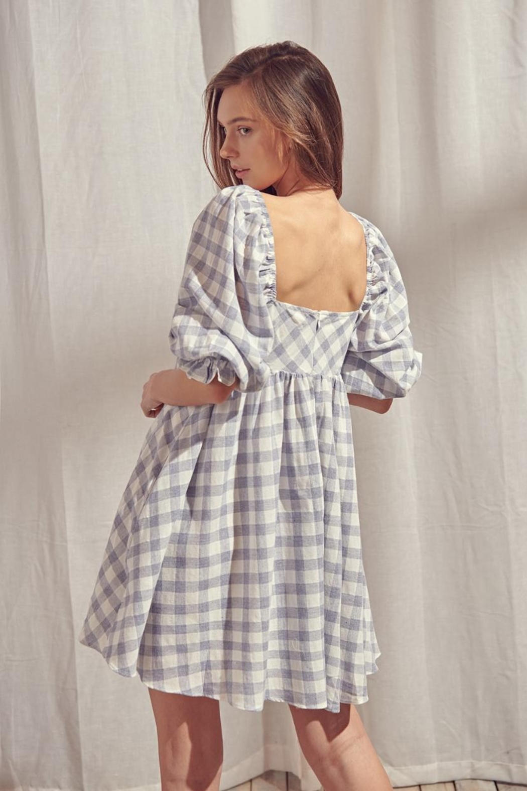 storia Checkered Dress - Side Cropped Image