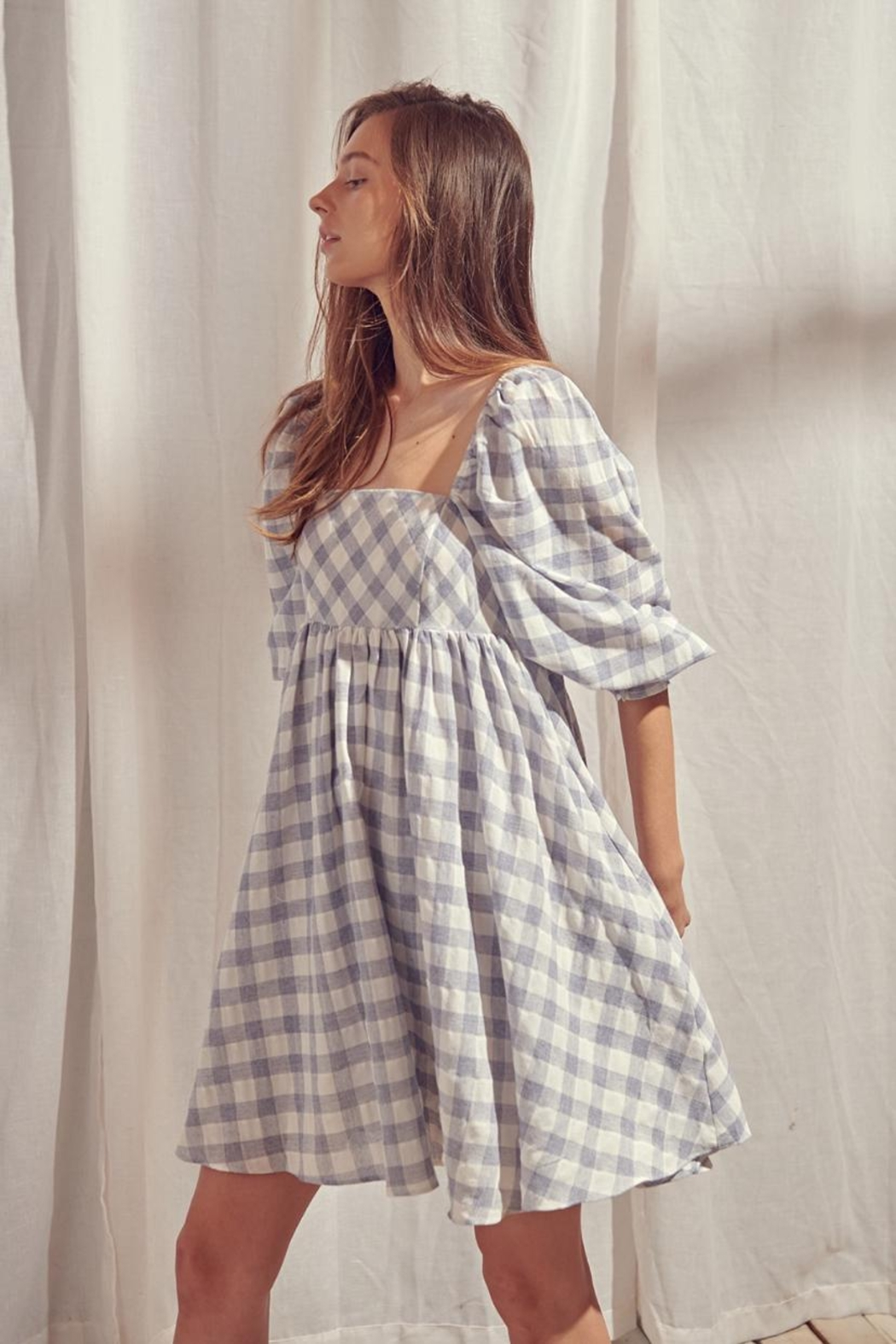 storia Checkered Dress - Front Cropped Image