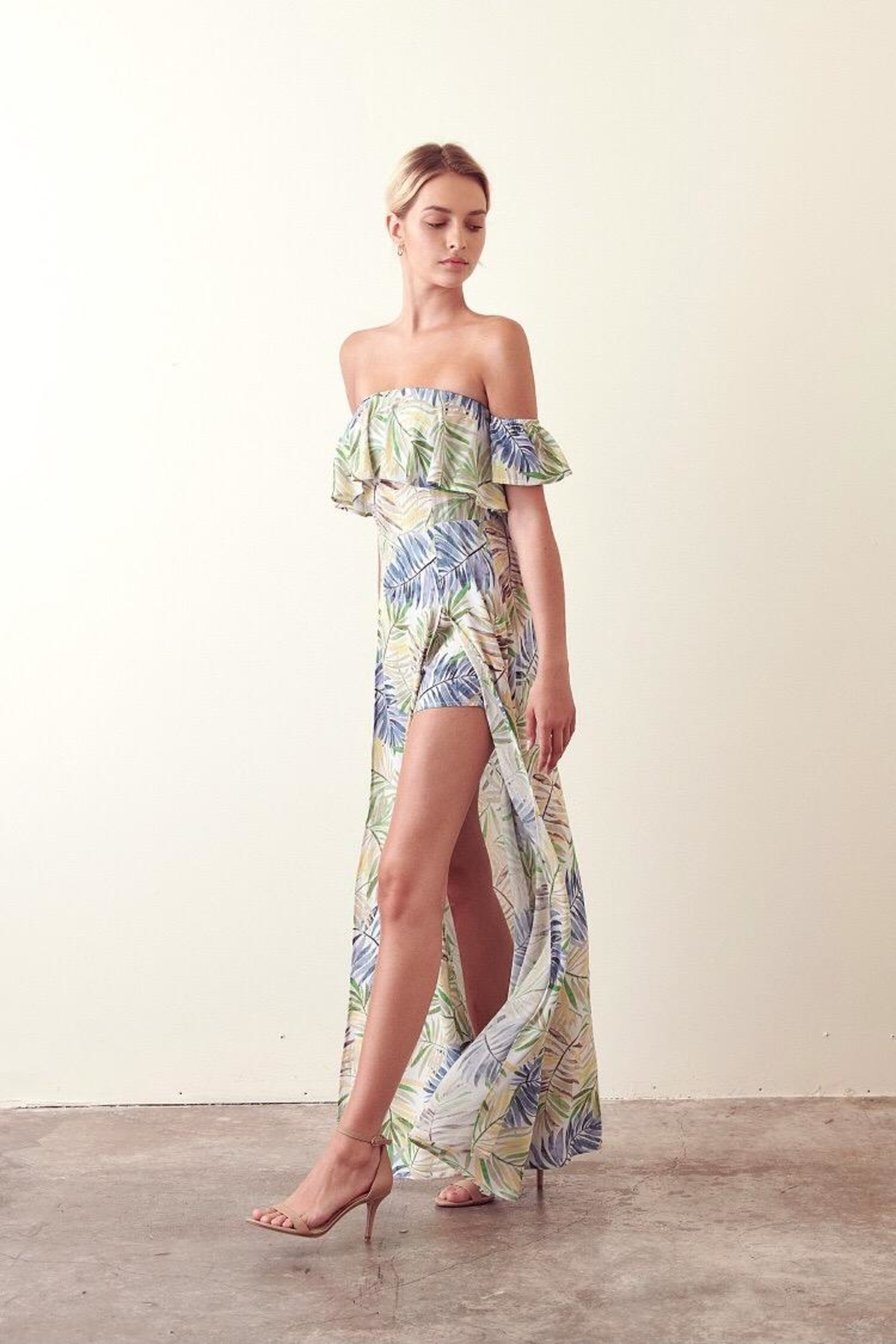 storia Cold-Shoulder Tropical Maxi - Front Full Image