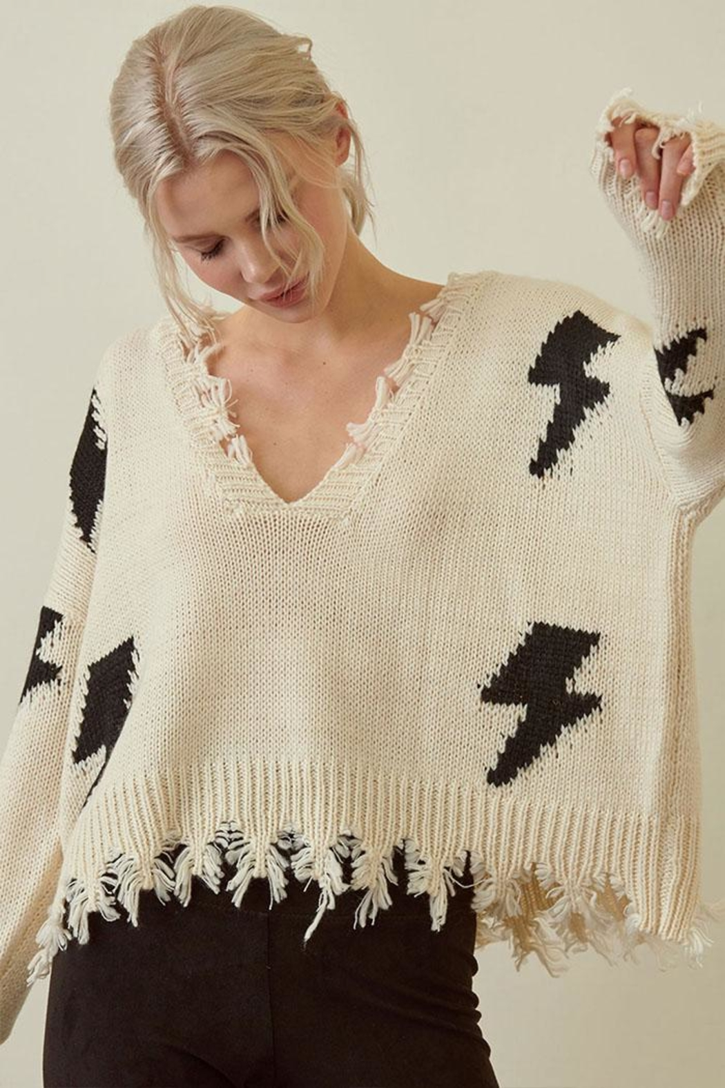 storia Distressed Lightning Sweater - Front Full Image