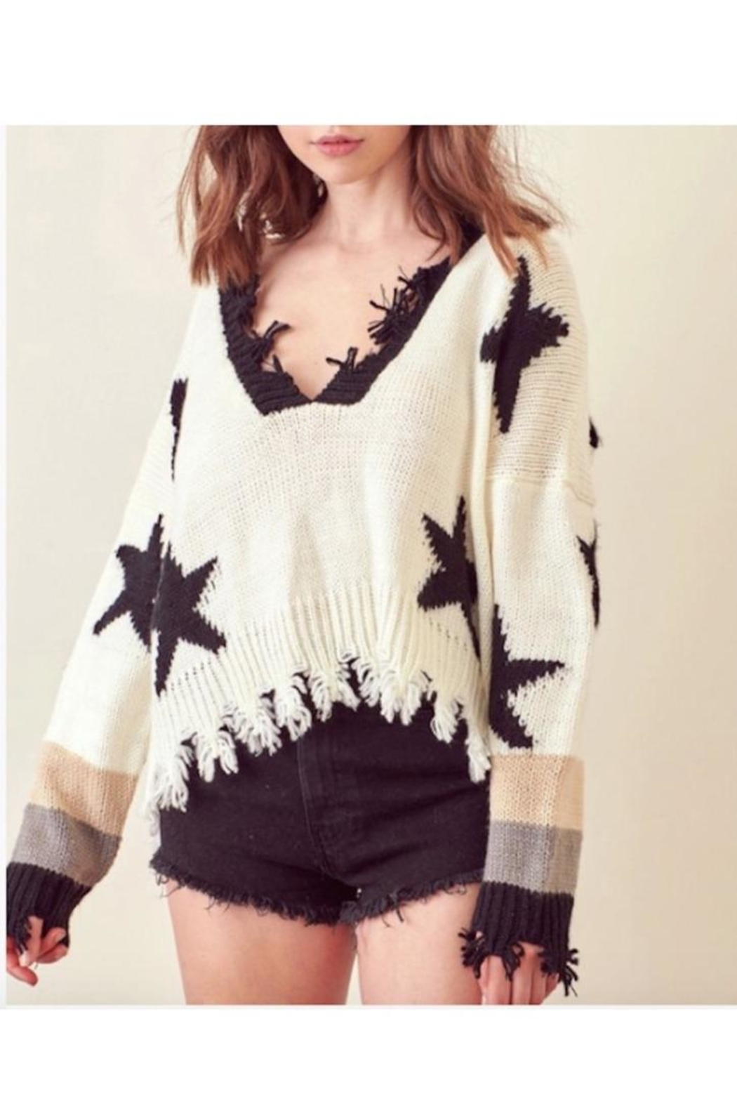storia Distressed Star Knit Sweater - Main Image