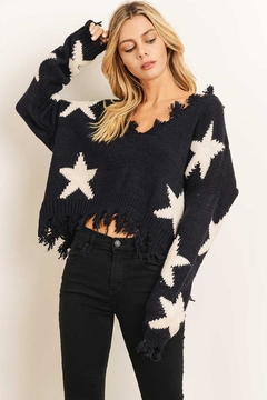 storia Distressed Star Sweater - Product List Image