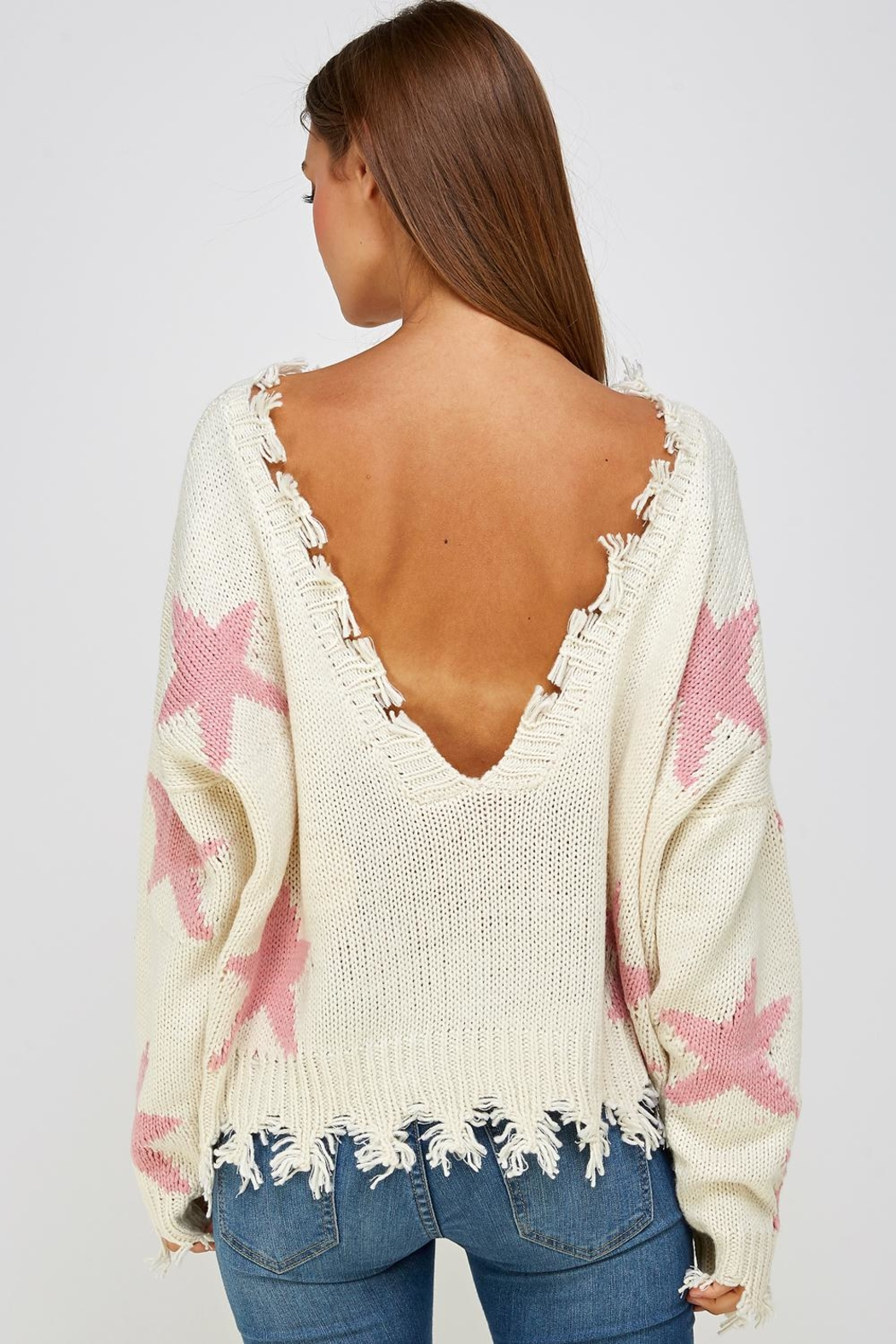 storia Distressed Star Sweater - Back Cropped Image