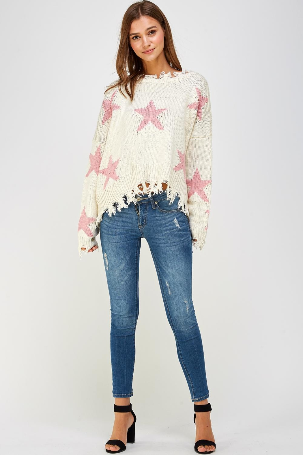 storia Distressed Star Sweater - Front Full Image