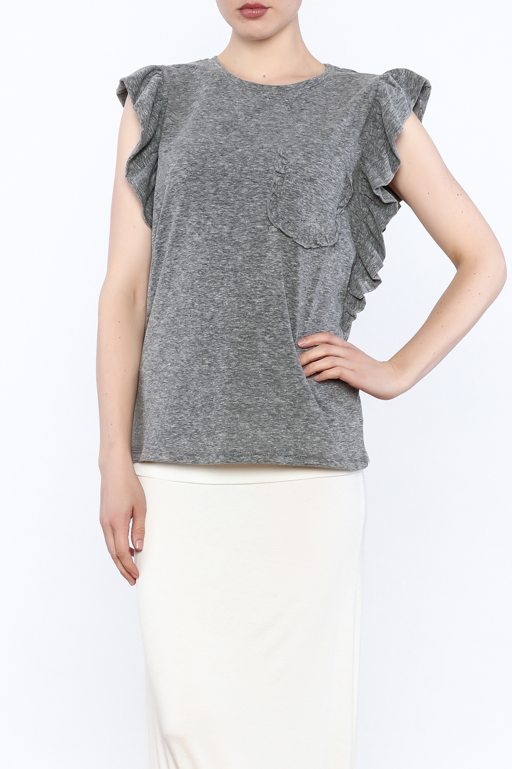 storia Flutter Sleeve Top - Front Cropped Image