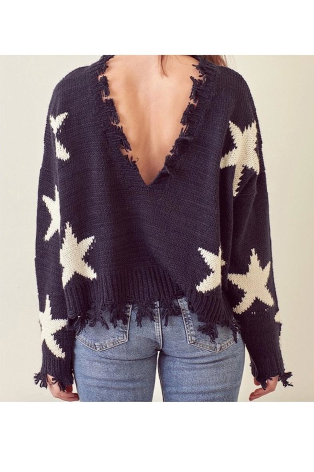storia Frayed Edged Star Sweater - Front Cropped Image