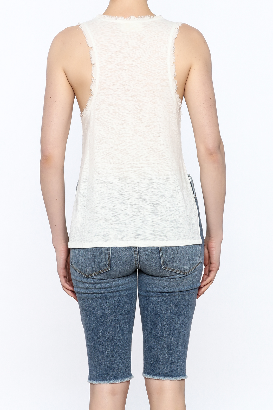 storia Frayed White Tank - Back Cropped Image
