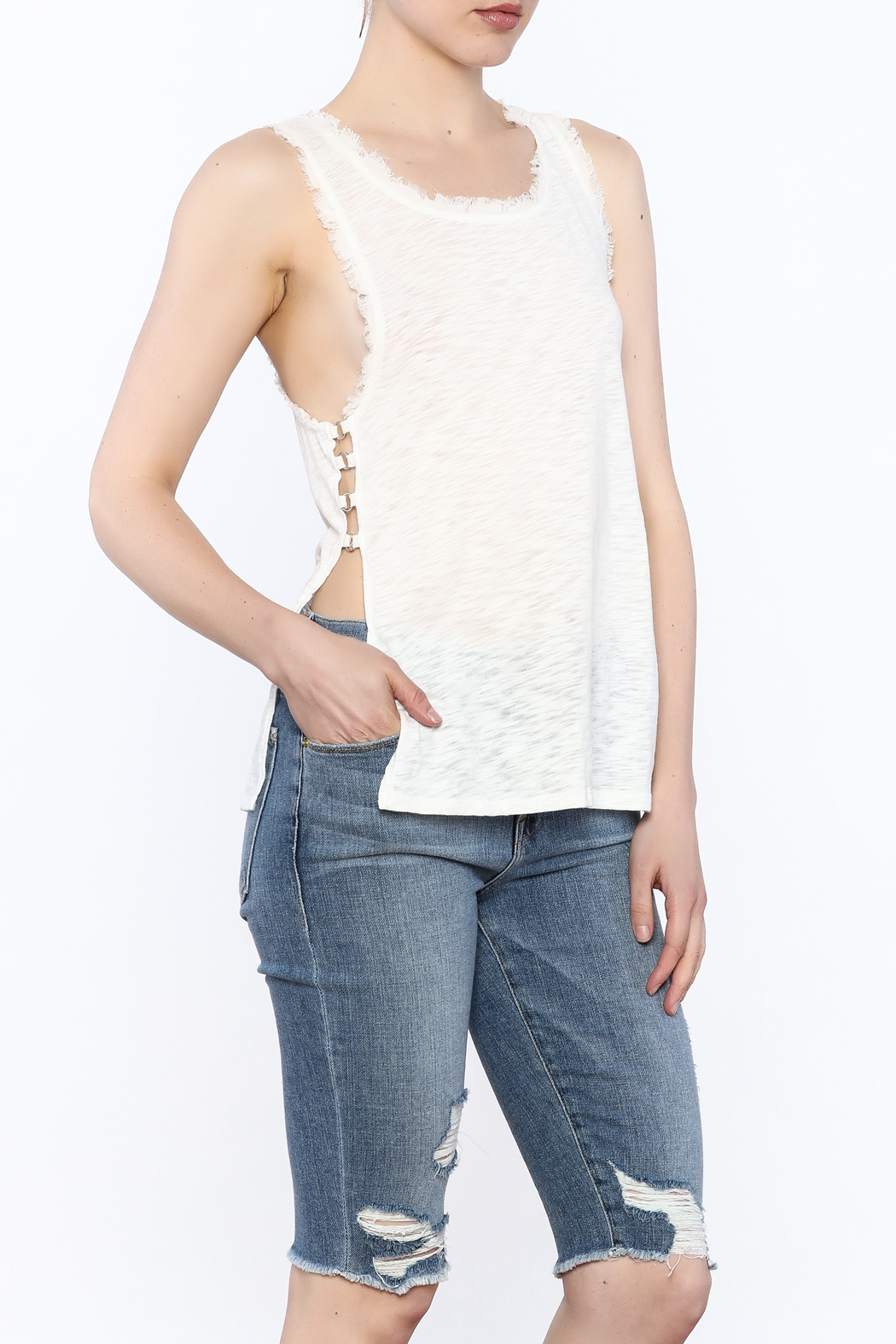storia Frayed White Tank - Main Image