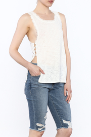 storia Frayed White Tank - Front cropped
