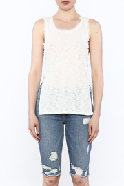storia Frayed White Tank - Front full body