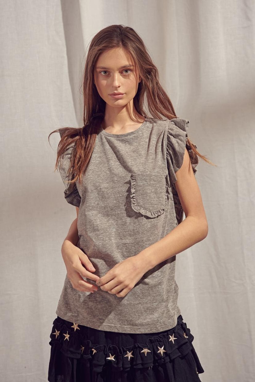 storia Grey Flutter Top - Front Cropped Image