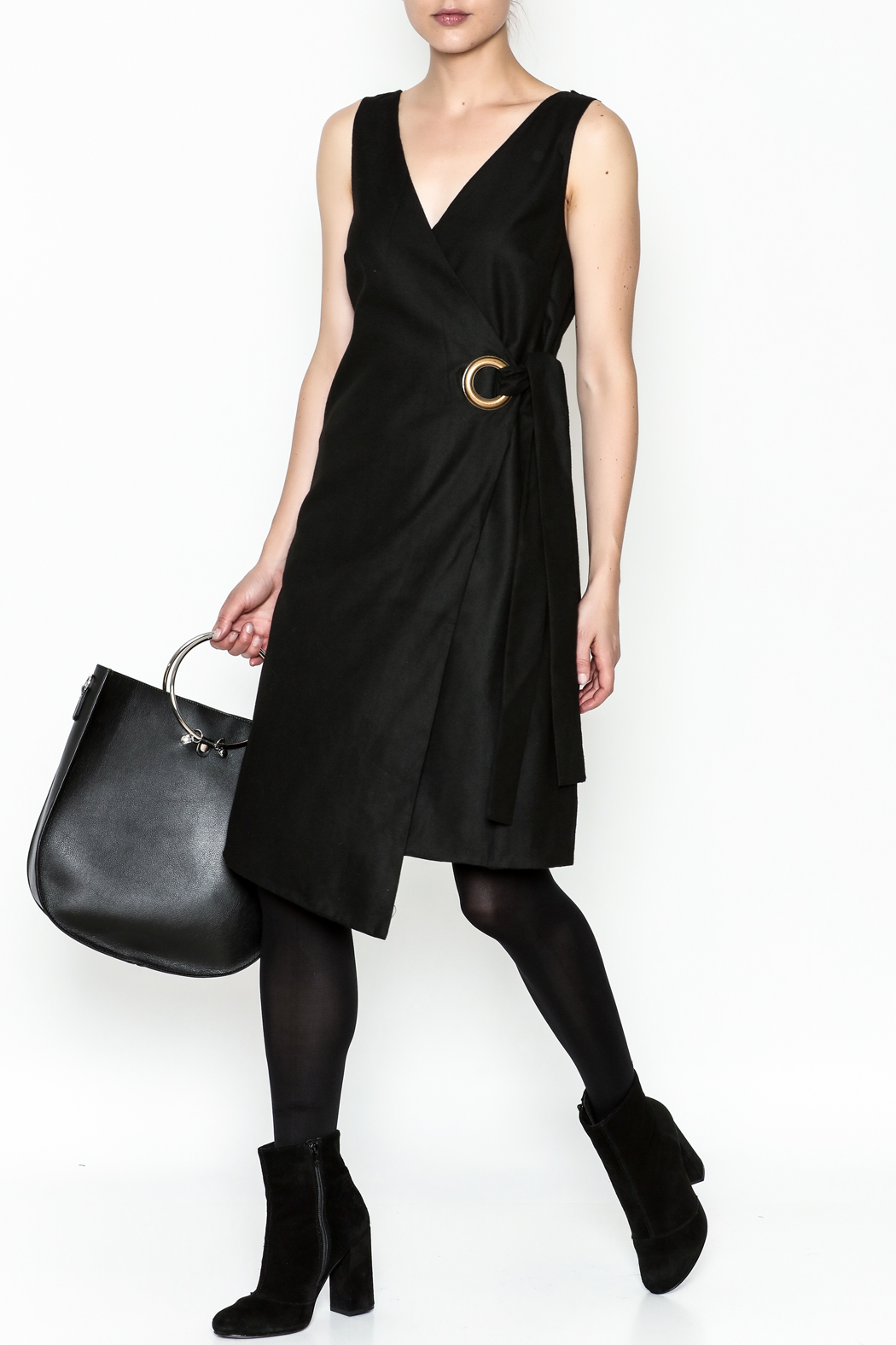 storia Grommet Wrap Dress - Front Cropped Image