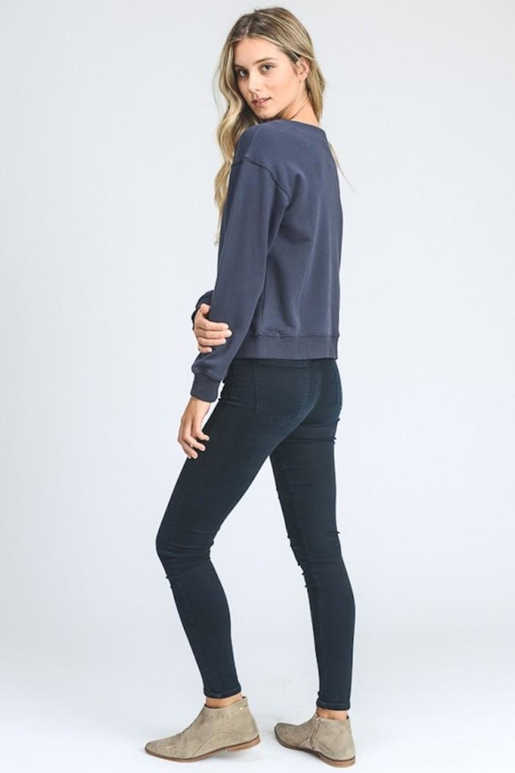 storia Lace Up Sweater - Back Cropped Image