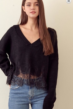 storia Lace V-Neck Sweater - Product List Image