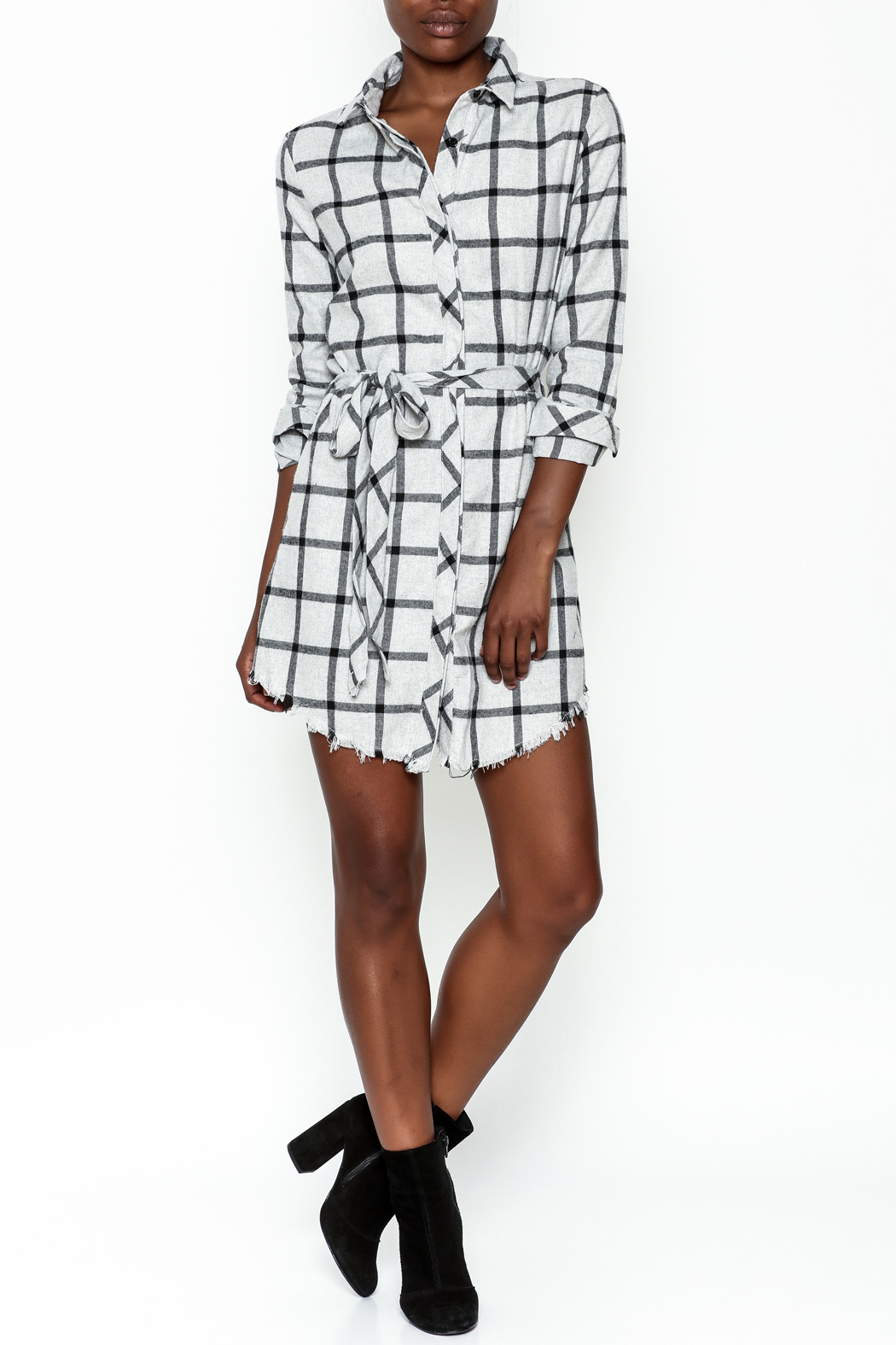 storia Plaid Collared Dress - Side Cropped Image