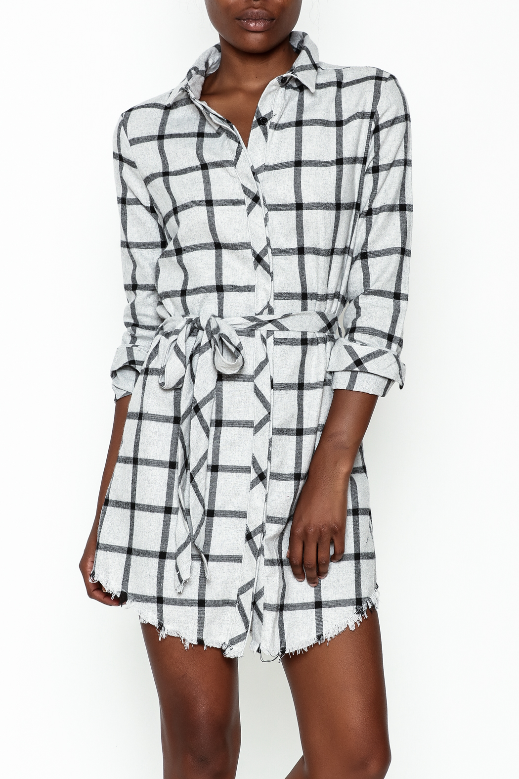 storia Plaid Collared Dress - Front Cropped Image