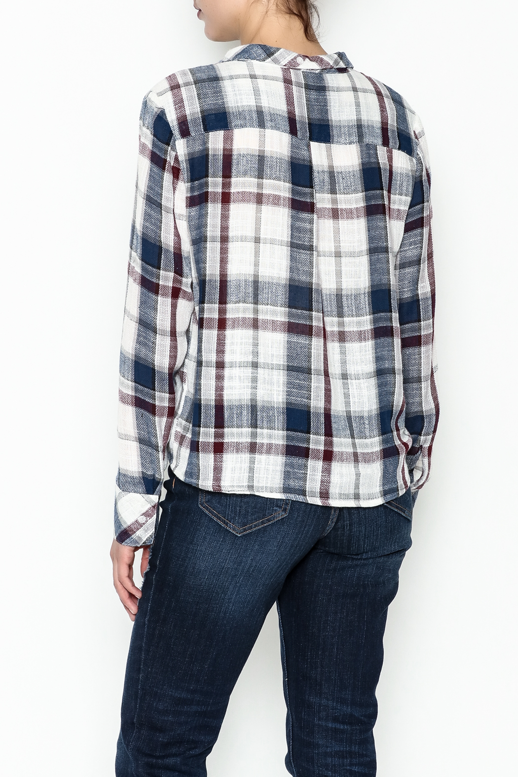 storia Plaid Tie Top - Back Cropped Image