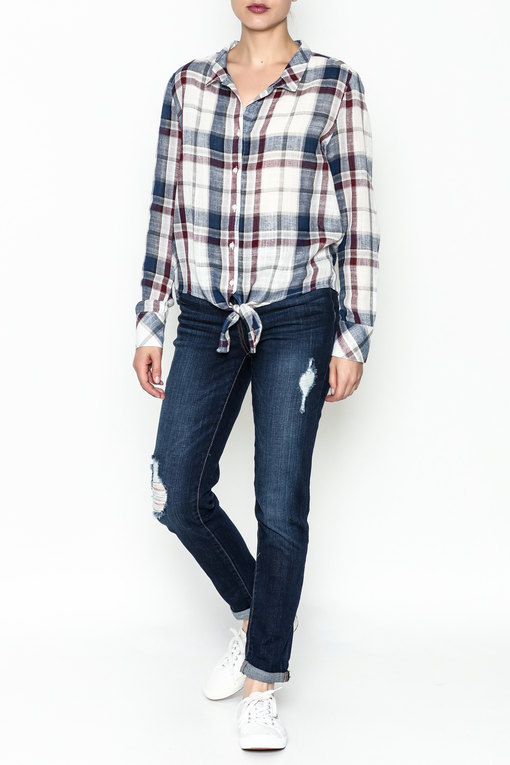 storia Plaid Tie Top - Side Cropped Image