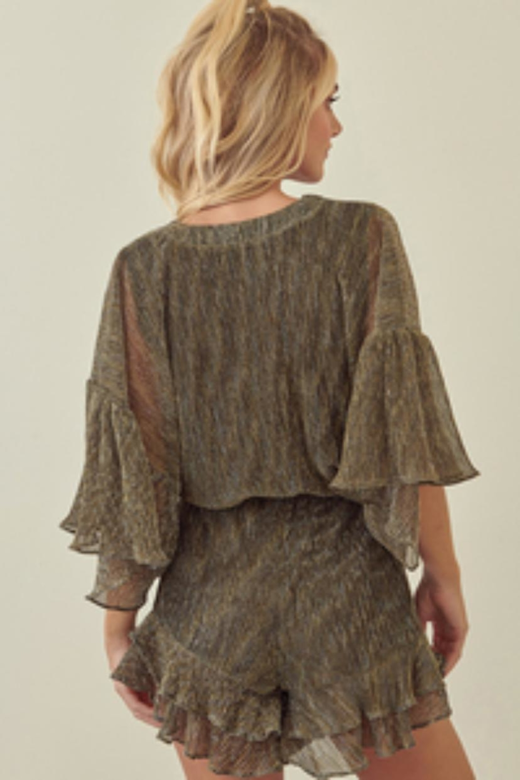 storia Pleated Metallic Romper - Front Full Image
