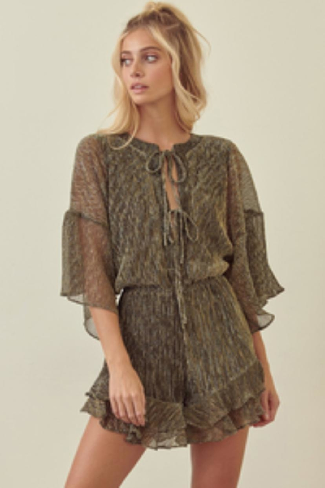 storia Pleated Metallic Romper - Main Image