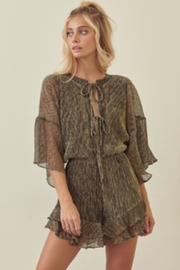 storia Pleated Metallic Romper - Front cropped