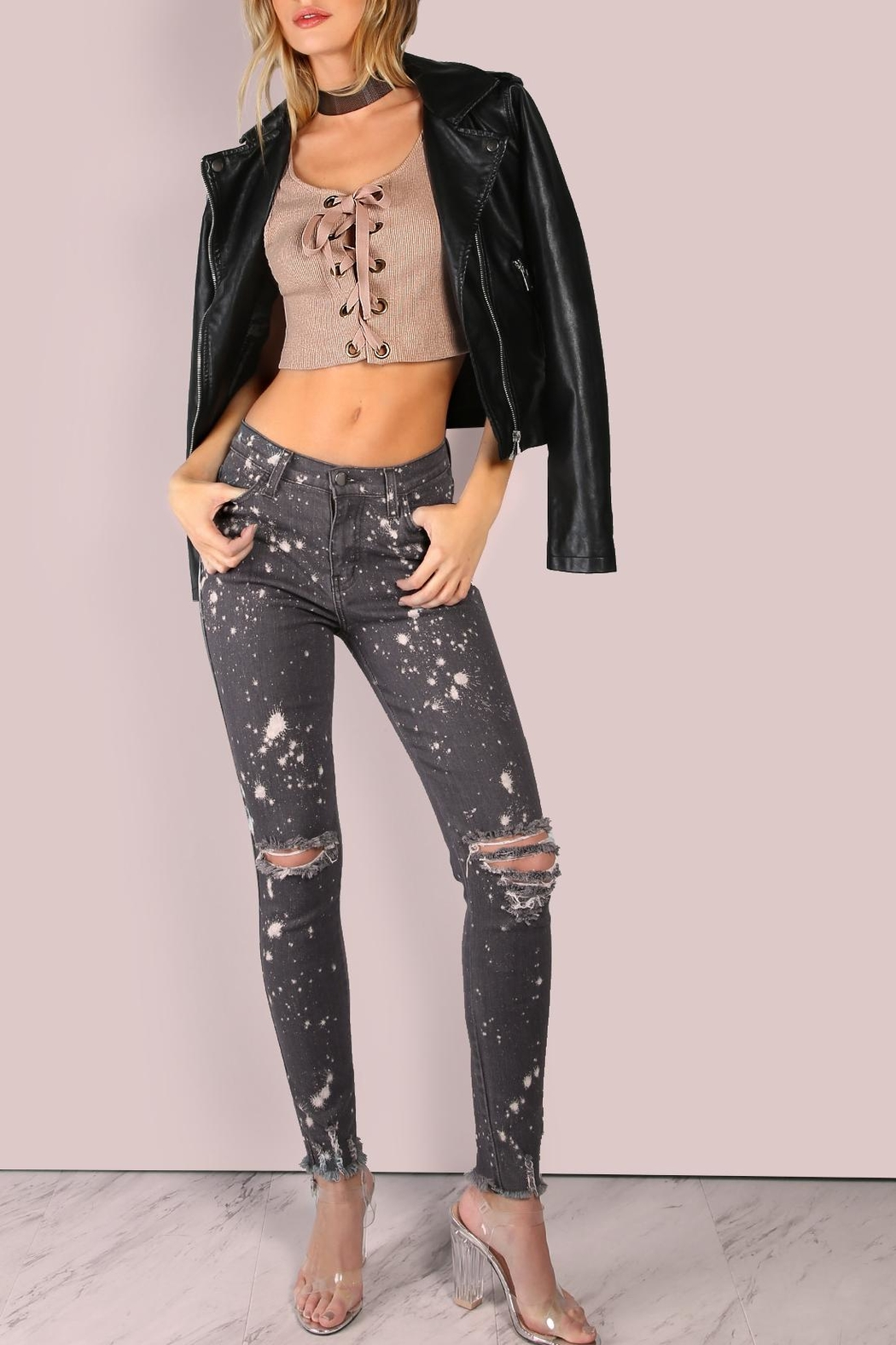 storia Lace Up Crop Top - Front Full Image