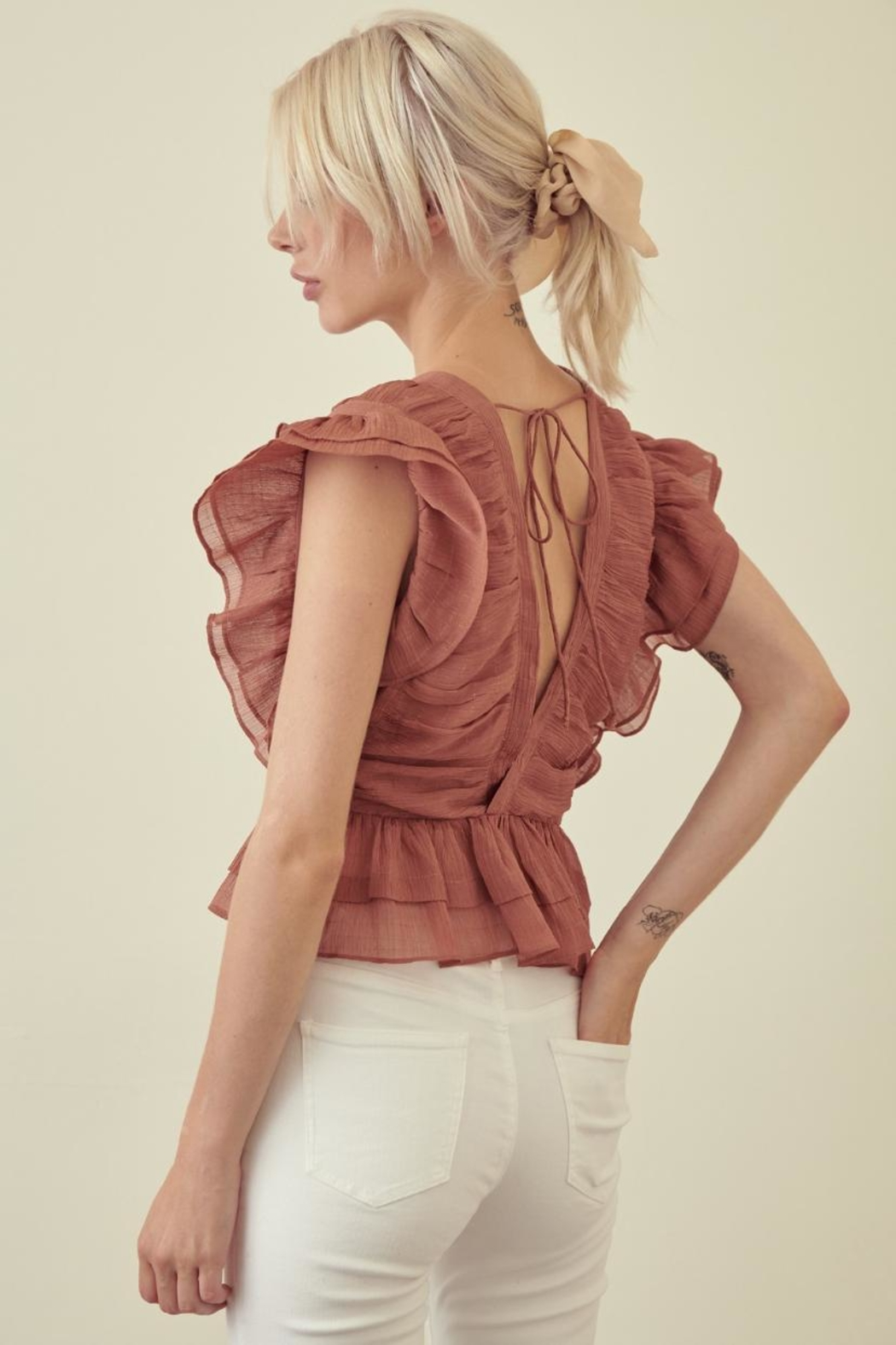 storia Ruffle Sleeve Top - Front Full Image