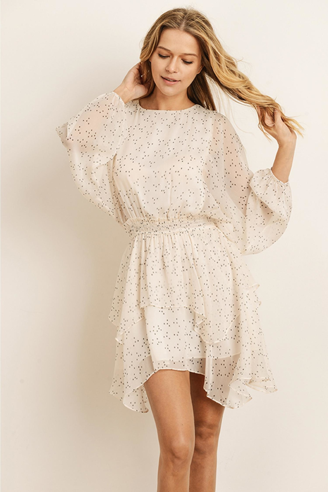 storia Ruffled Dot Dress - Front Cropped Image