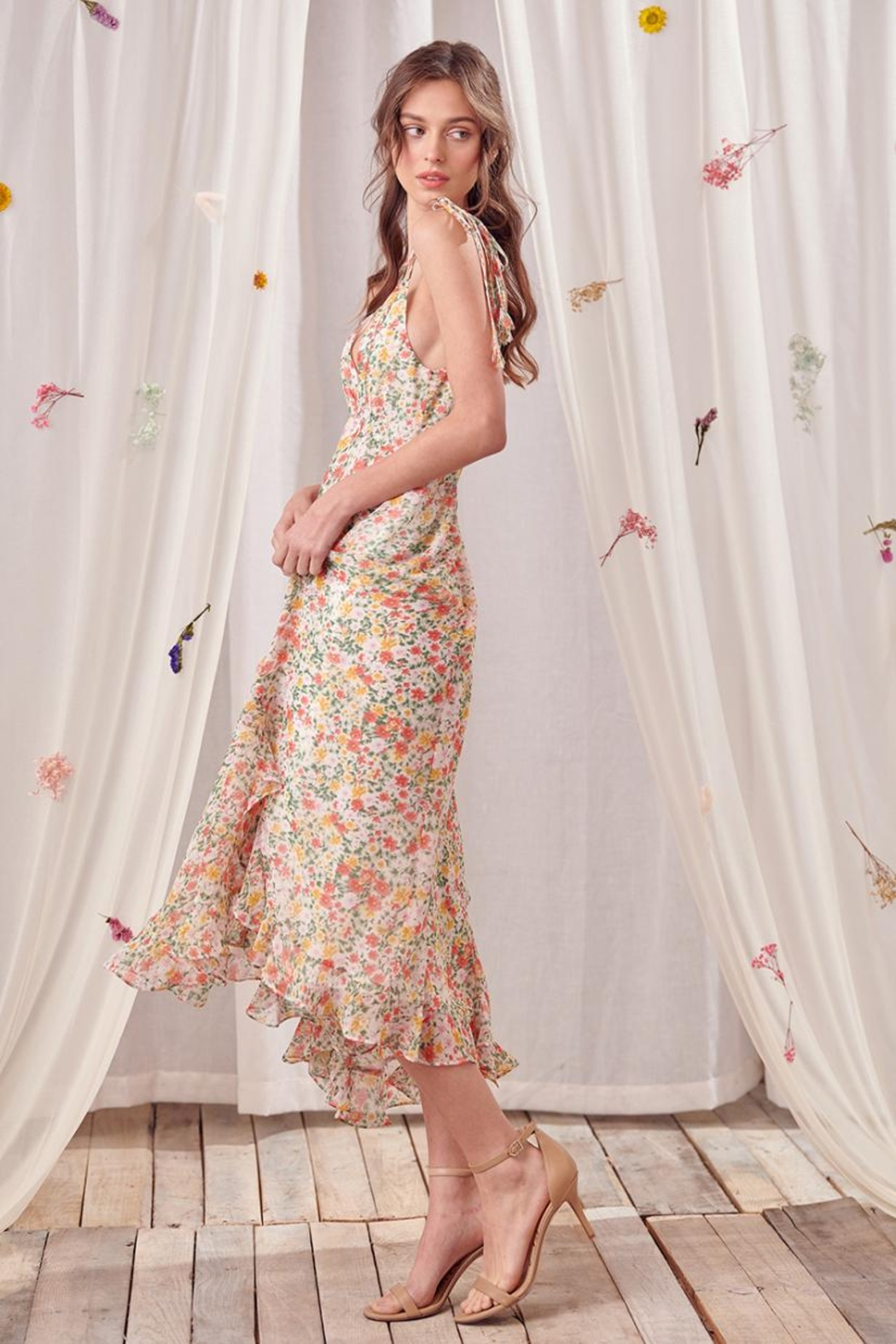 storia Ruffled Floral Dress - Front Full Image