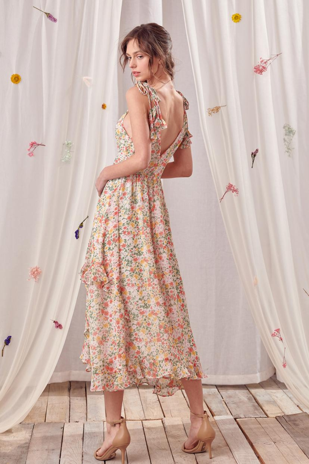 storia Ruffled Floral Dress - Side Cropped Image