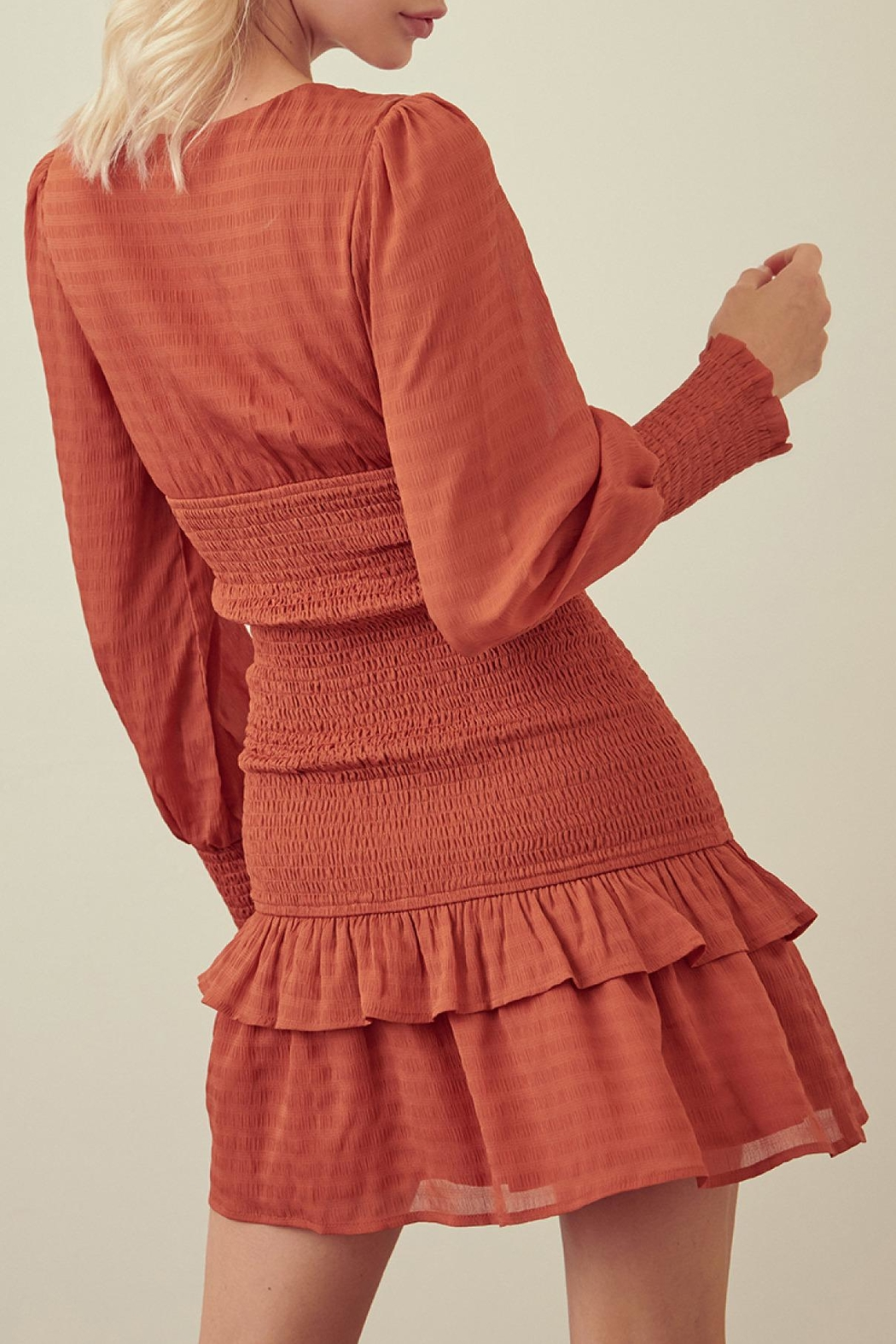 storia Rust Smocked Dress - Front Full Image