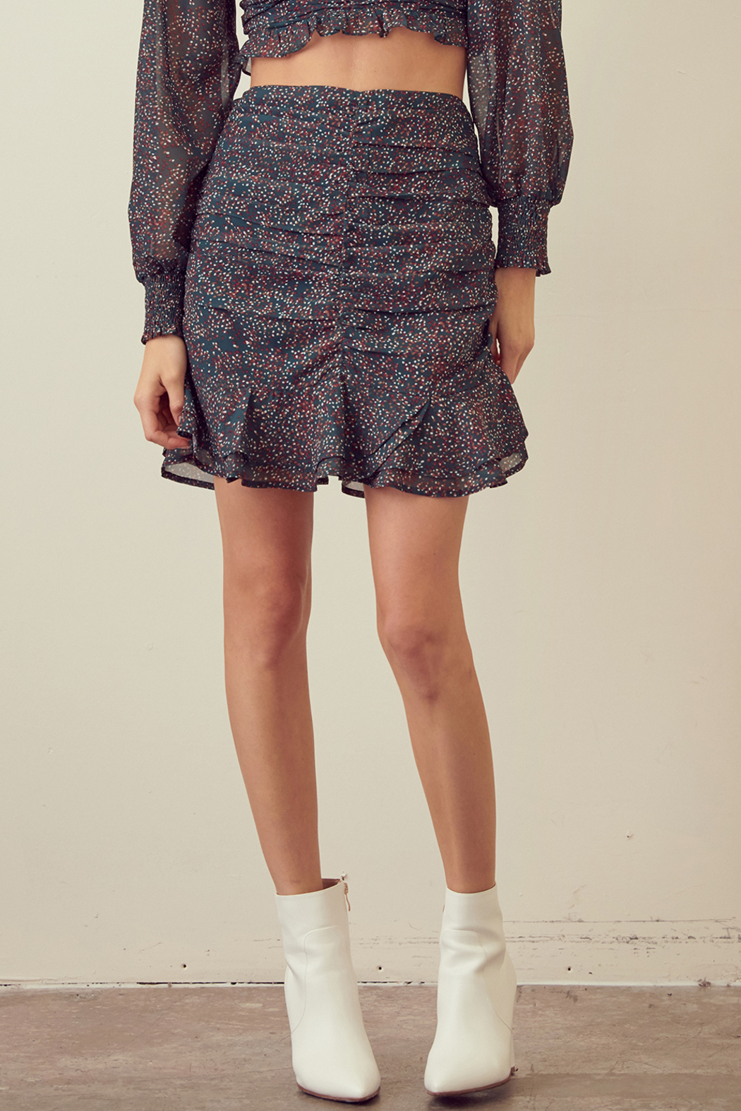 Skirt STORIA SPECKLED RUCHED RUFFLE MINI SKIRT - Main Image