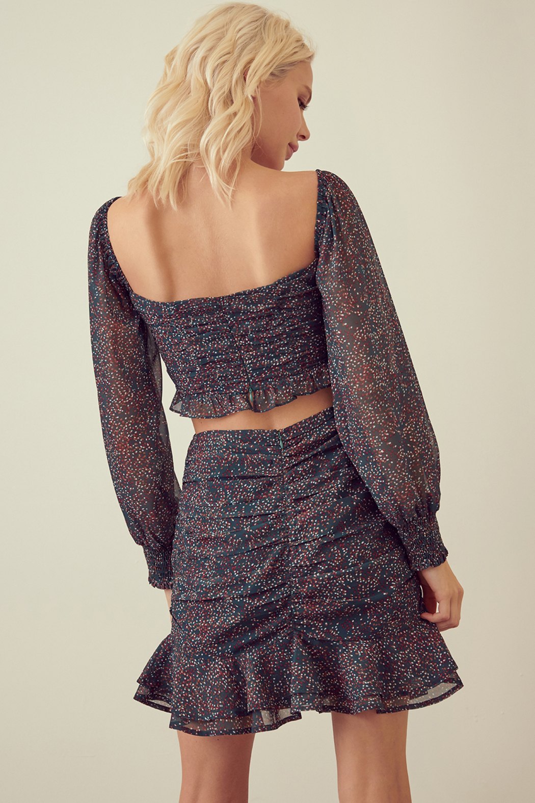 Skirt STORIA SPECKLED RUCHED RUFFLE MINI SKIRT - Side Cropped Image