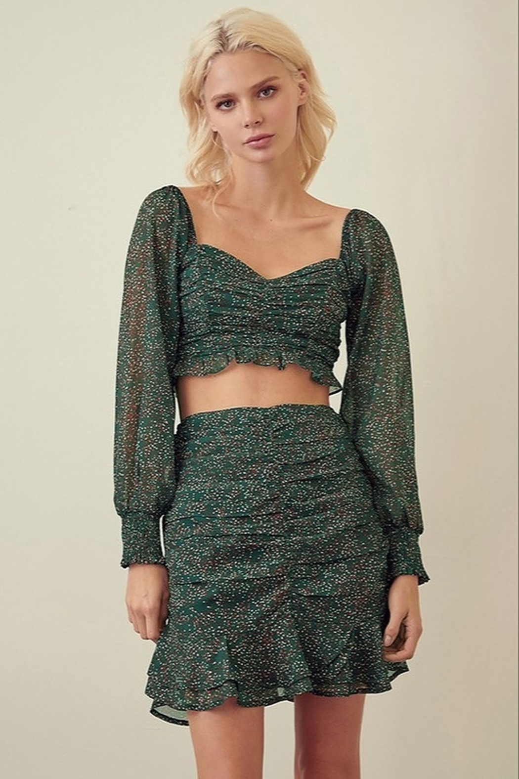Green crop top STORIA SPECKLED SWEETHEART CROP TOP - Front Cropped Image
