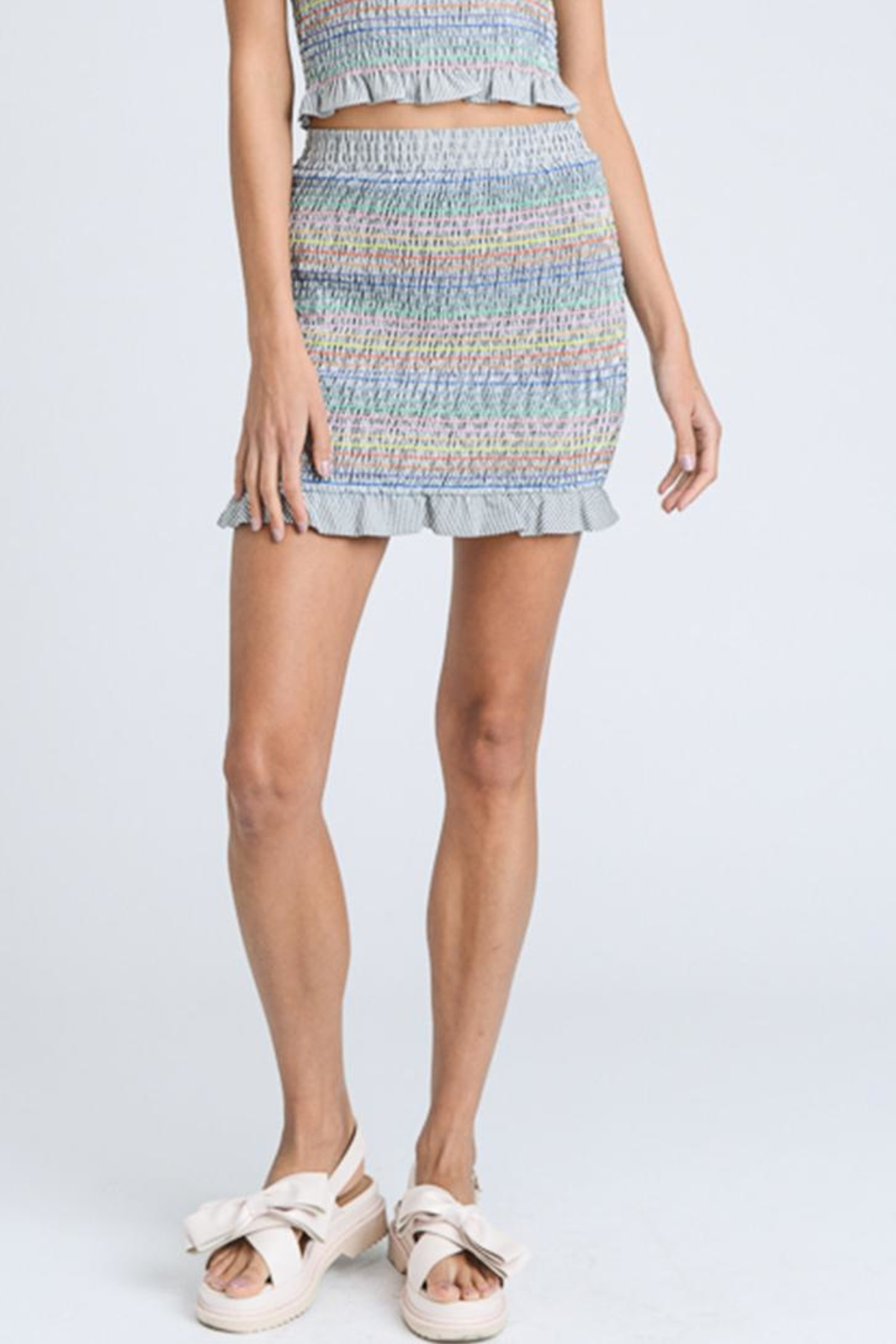 storia Stripe Smock Skirt - Front Cropped Image