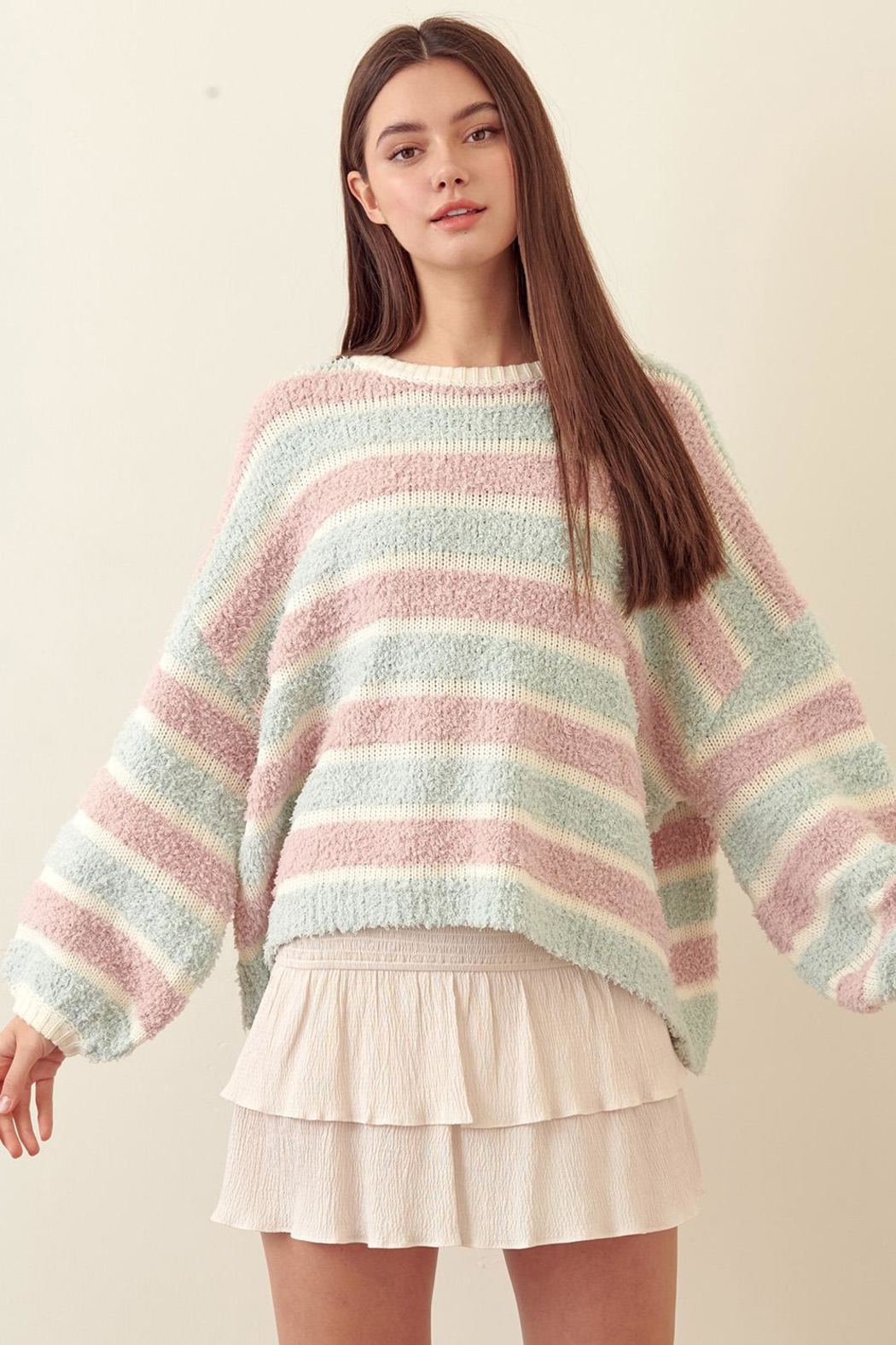 storia Striped Wide-Sleeve Sweater - Main Image