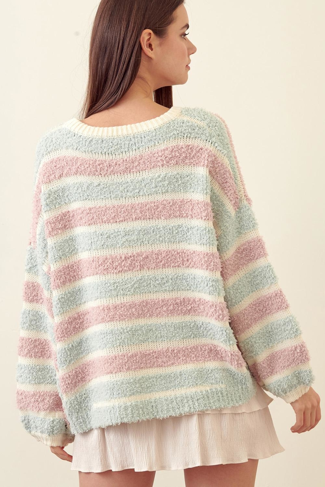 storia Striped Wide-Sleeve Sweater - Front Full Image