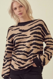 storia Taupe Zebra Sweater - Front cropped