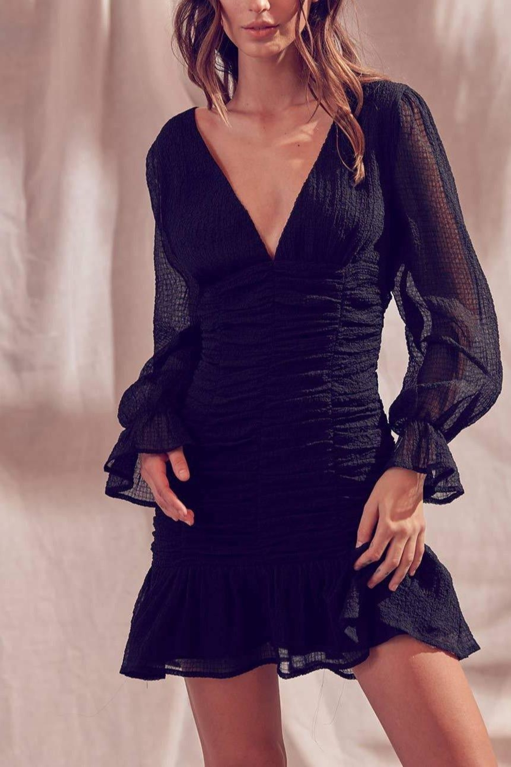 storia Textured-Ruched Mini Dress - Side Cropped Image