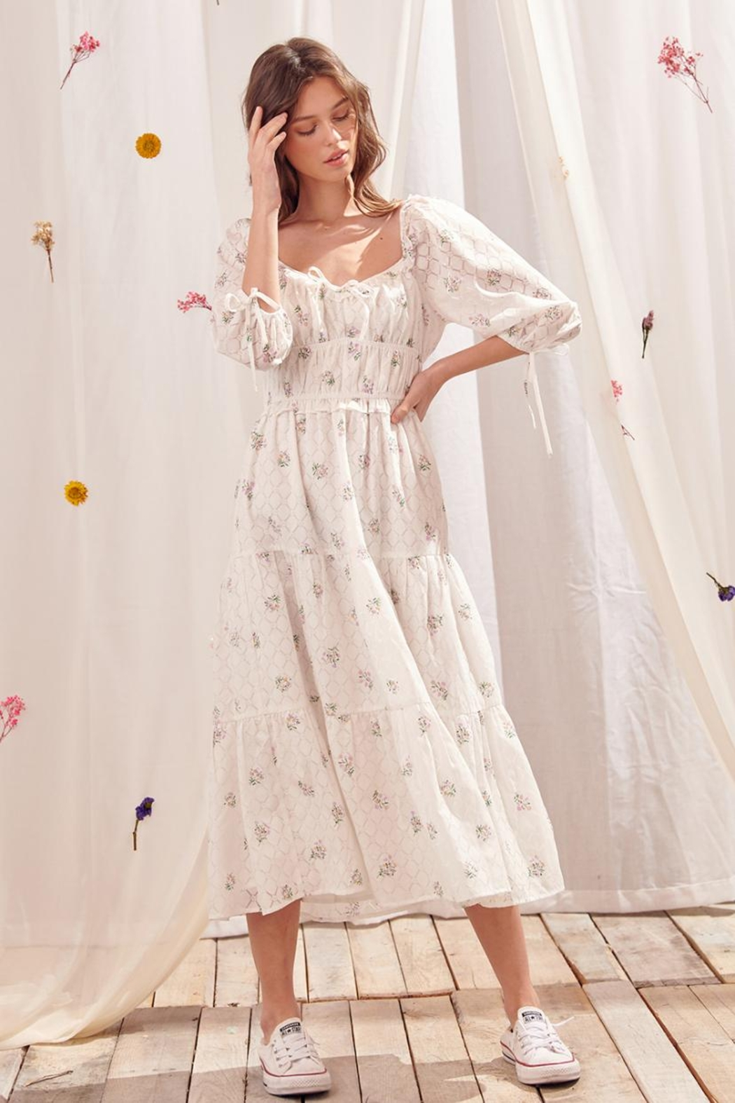 storia Tiered Floral Dress - Side Cropped Image