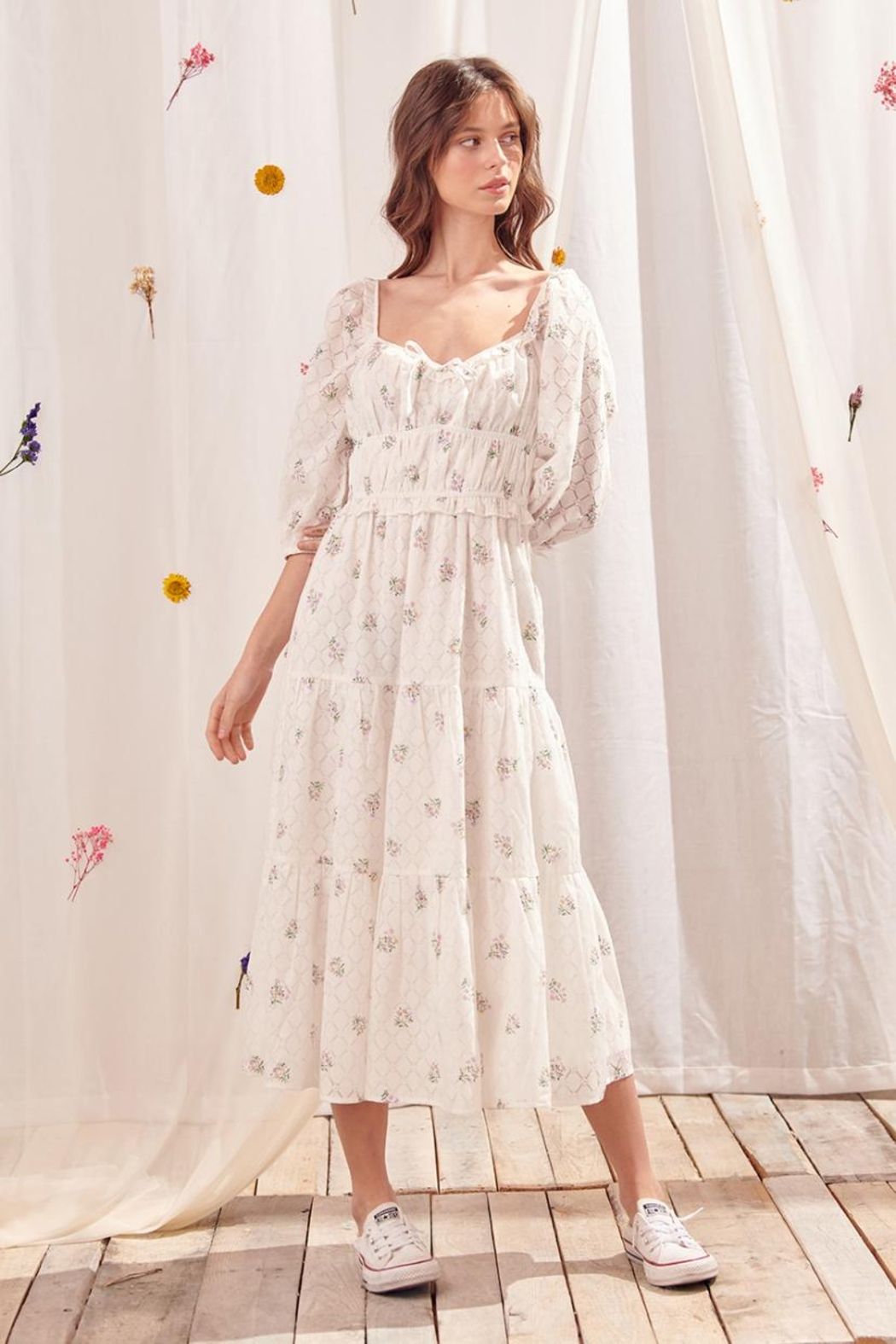 storia Tiered Floral Dress - Front Full Image