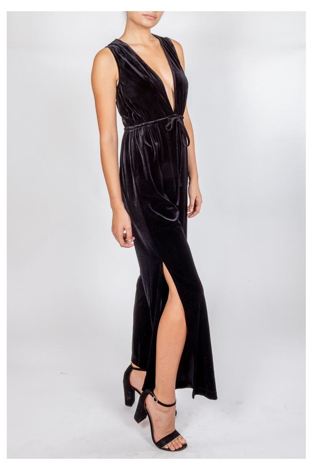 storia Velvet Plunging Jumpsuit - Side Cropped Image