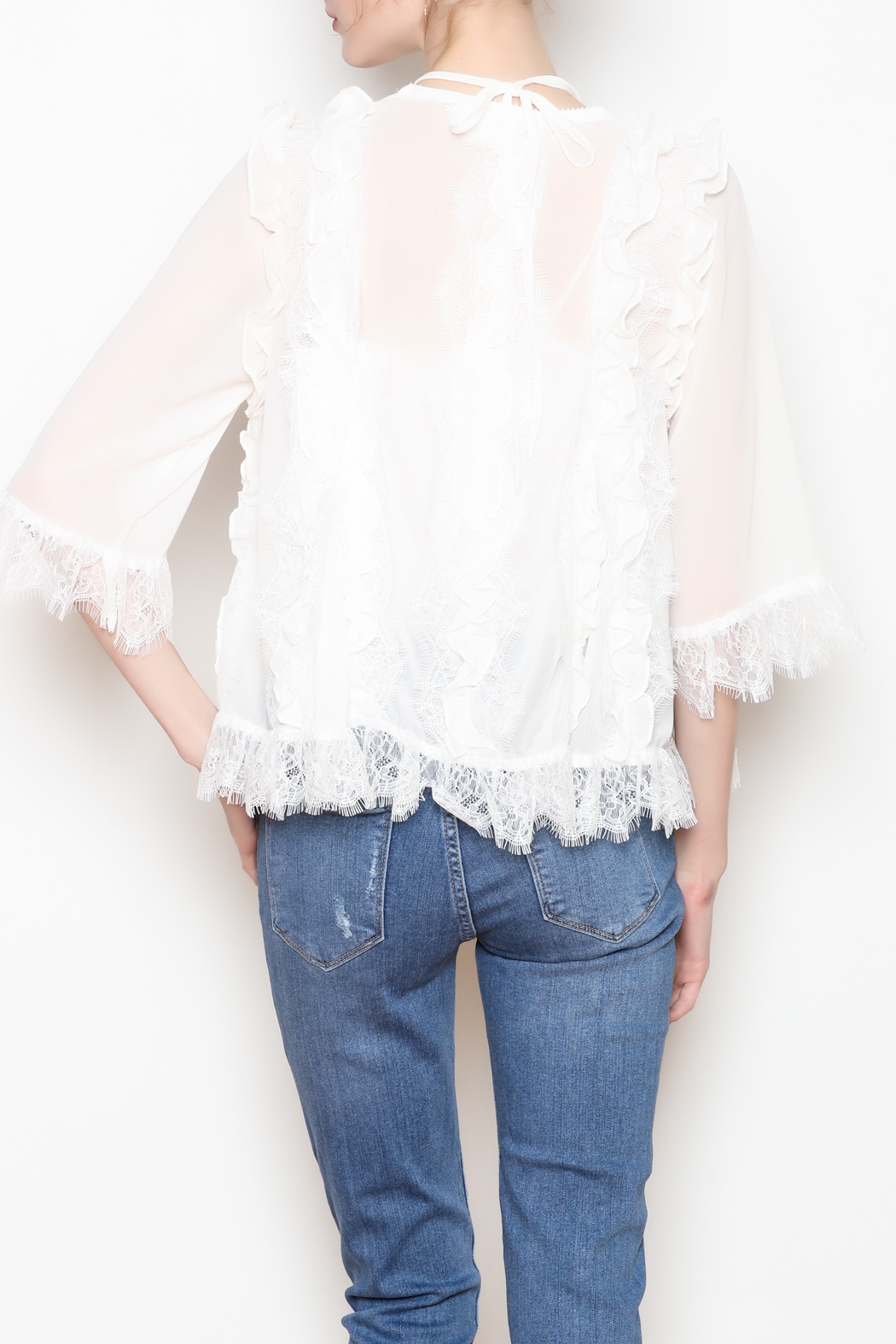 storia White Lace Blouse - Back Cropped Image