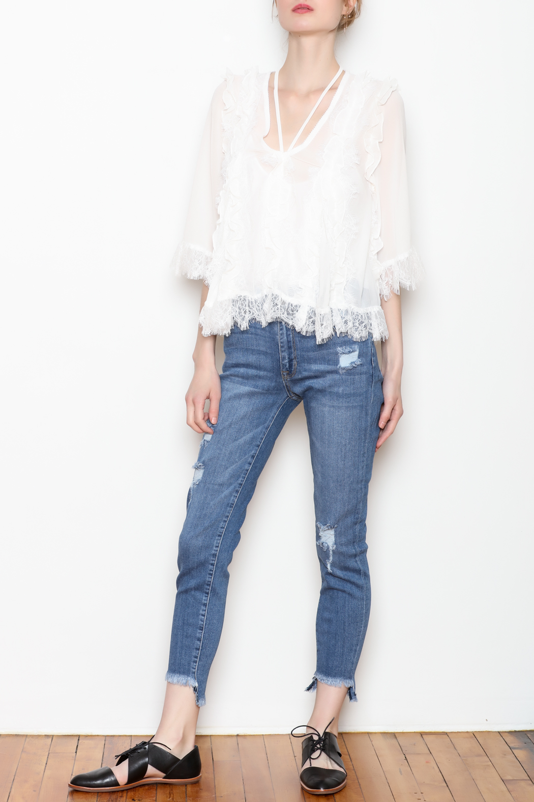 storia White Lace Blouse - Front Full Image