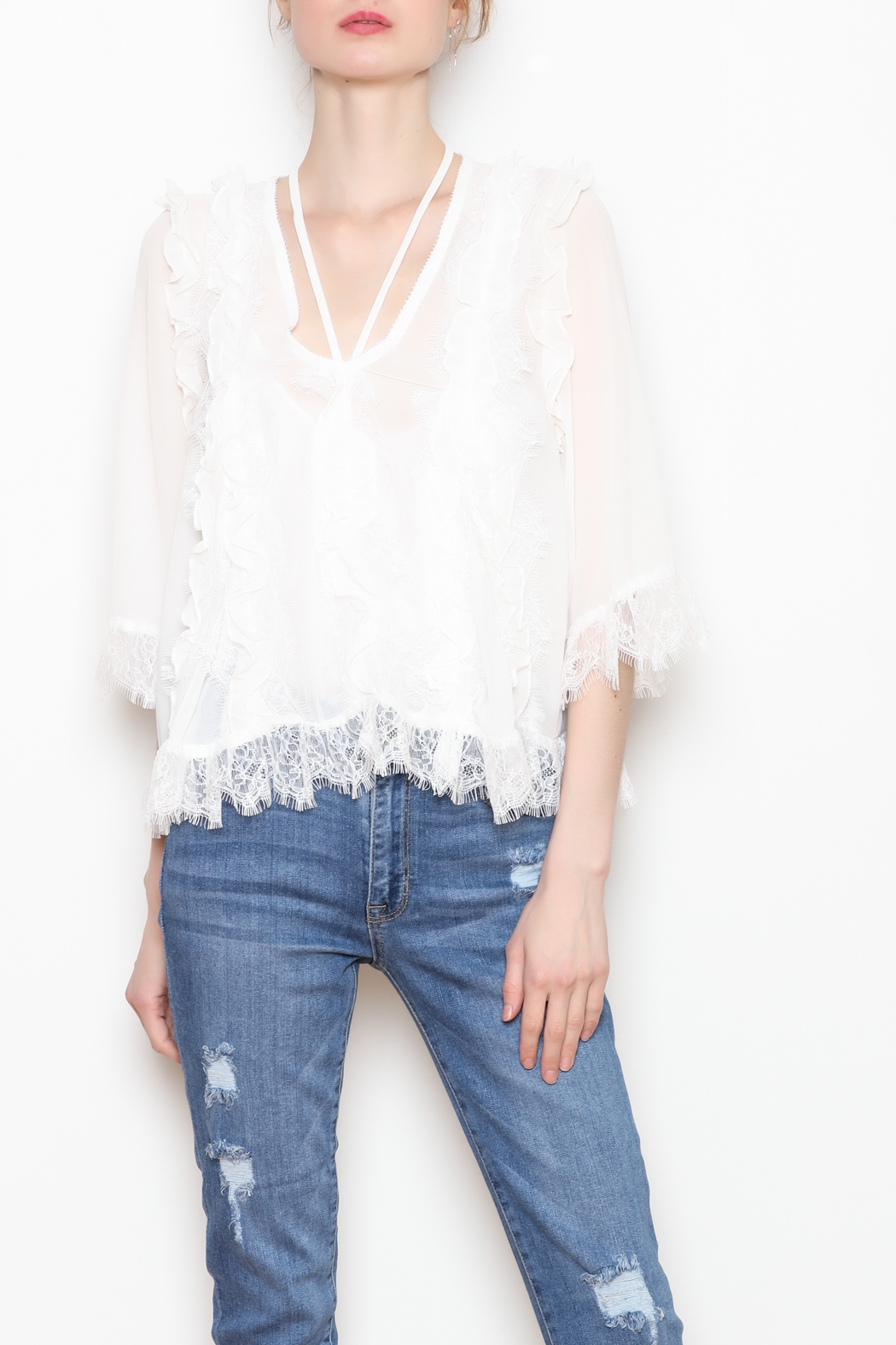 storia White Lace Blouse - Main Image